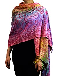 NYfashion101 eleganter großer weicher regenbogenfarbiger Pashmina Schal