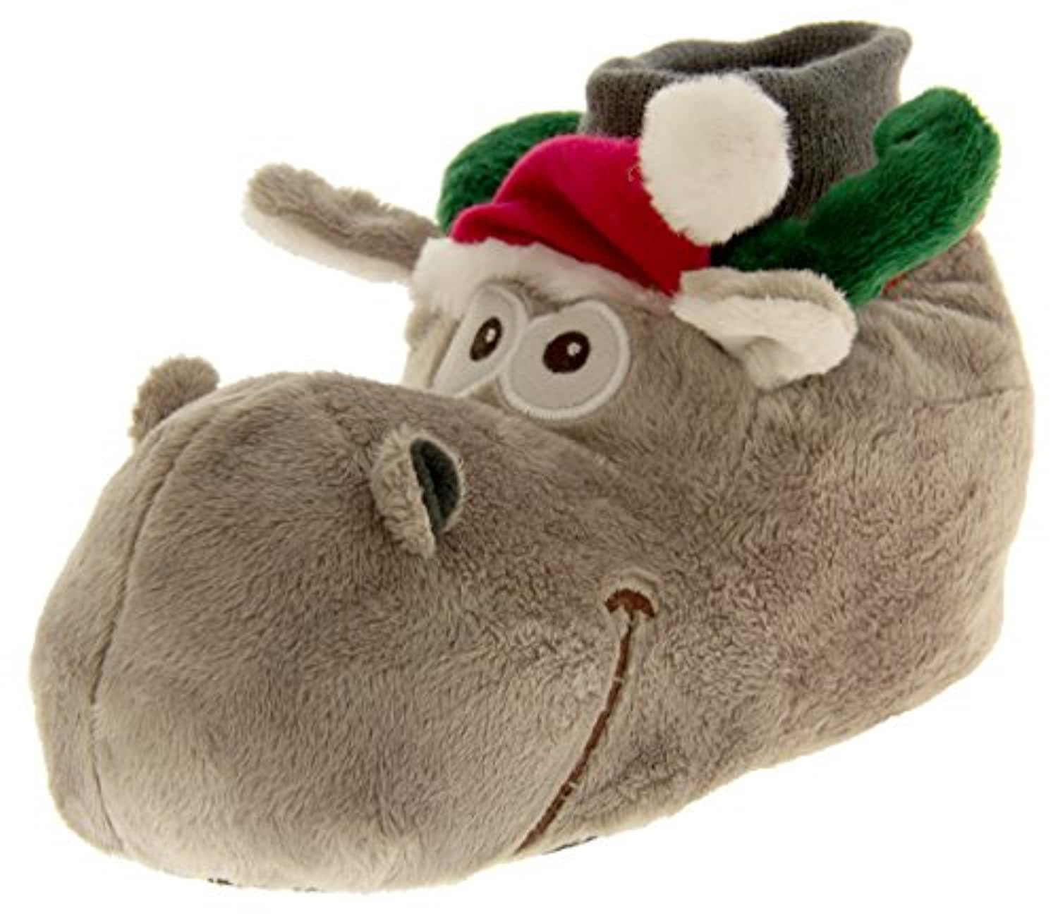 De Fonseca Boys Girls Auguri Grey Reindeer Novelty Character Slippers 4-5 UK (20-22 EUR) Toddler