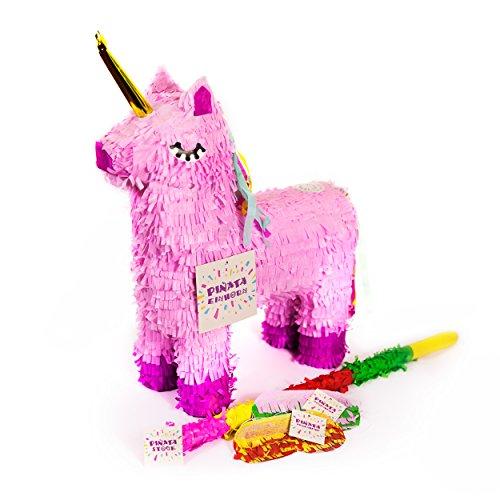 (Trendario Einhorn Pinata Set, Pinjatta + Stab + Augenmaske, Ideal zum Befüllen mit Süßigkeiten und Geschenken - Piñata für Kindergeburtstag Spiel, Geschenkidee, Party, Hochzeit)