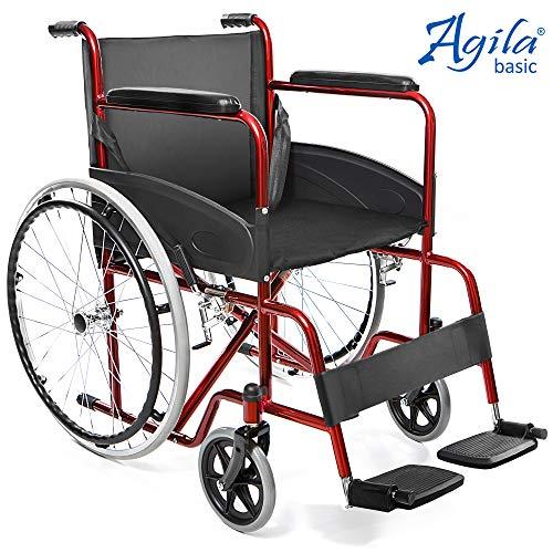 AIESI Rollstuhl faltbar leichter selbstfahrender - Klapprollstuhl faltbarer für ältere und behinderte menschen AGILA BASIC ✔ Feste armlehnen und fußstützen ✔ Sicherheitsgurt ✔ 24 Monate Garantie