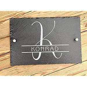 Haus-Türschild personalisiert mit Familiennamen | Hausschilder aus Schiefer mit Befestigungsmaterial | Hausnummer mit…