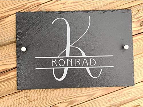 Haus-Türschild personalisiert mit Familiennamen   Hausschilder aus Schiefer mit Befestigungsmaterial   Hausnummer mit Initialien