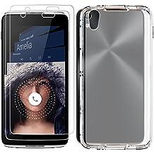 """Protectores de pantalla para Alcatel OneTouch Idol 4 (5.2"""") con Funda de Protección, AFUNTA Conjunto de 2 Vidrio Templado de Protección de Cobertura Completa, con 1 Carcasa Transparente A Prueba de Choques para Idol4 5.2 Pulgadas"""