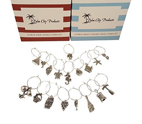 Palm City Products - Doppelpack Weinglas Anhänger Sets - Insgesamt 18 Stück, Strand- und Weinliebhaber-Themen