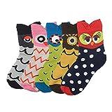 Yuccer Cartoon Socken, 5 Paar Stricken Baumwolle Socken Niedlicher Lustige Casual Socken für Mädchen Frauen (Eule)