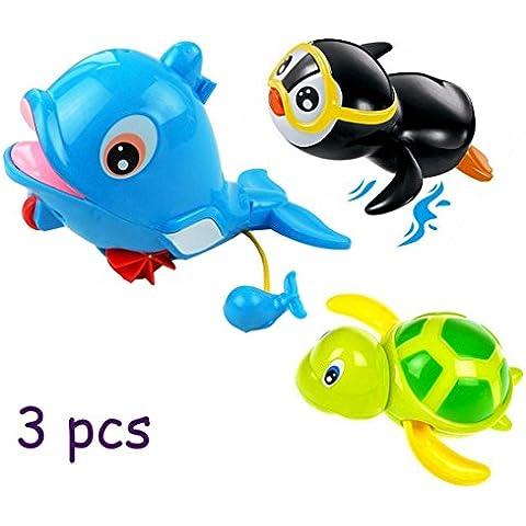 3PCS Bambini Wind-up Pull sorgente d'acqua Giocattoli, Goldore Baby Piscina giocattolo, Dolphin + Penguin + Turtle