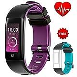 AUNEY Fitness Tracker, Activity Tracker Sport Band Smart Armband Wasserdicht Herzfrequenz Sleep Monitor Schrittzähler für IOS und Android, violett