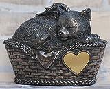 Katzen Urne bronziert als Katzen-Engelfigur und Gravurplatte, Tierurn