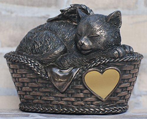 Unbekannt Katzen Urne bronziert als Katzen-Engelfigur und Gravurplatte, Tierurne