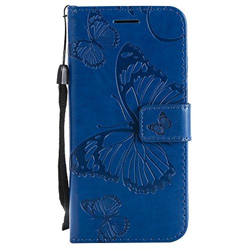 Shinyzone Huawei P20 Lite 3D Geprägt Schmetterling Muster PU Leder Brieftasche Hülle,Trageschlaufe & Eingabestift mit Kredit Kartenhalter Ständer Flip Handyhülle für Huawei P20 Lite,Blau -
