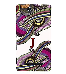 Fabcase abstract colourful vibrant design alphabet J Designer Back Case Cover for Sony Xperia C3 Dual :: Sony Xperia C3 Dual D2502