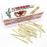 OUXIYA 900 piezas – 3,5 pulgadas de bambú pinzas de fruta/mini horquillas de cóctel pinchos Splinter perfecto para fiestas, buffets, comida degustación, etc.