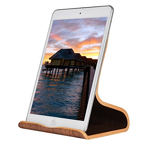 SAMDI Supporto per iPad in Legno, Legno Supporto Tablet/Supporto Stand Dock per iPad Pro, iPad mini 2 3 4, iPad Air, Air 2, iPhone 7 Plus, 6s Plus, Samsung Galaxy Tab S7 S8 (Noce Nera)