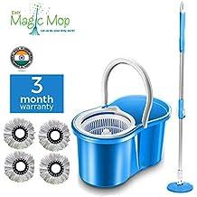 Easy Magic Plastic Floor Cleaning Bucket Mop with 4 Refill (Blue, Medium)