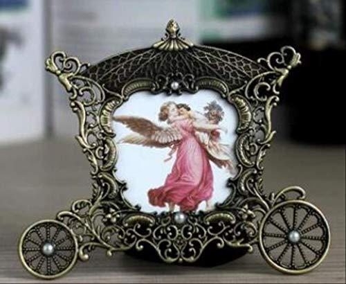KWOSJYAL 1 Stücke Metall Vintage Bilderrahmen Klassische Desktop Bilderrahmen Kleine Mini Wohnkultur Für Familie Freunde Erinnerungen 16,8 * 14,5 cmBronze -