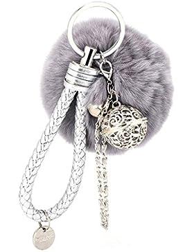 CAOLATOR Schlüsselanhänger Elegant Plüsch-Kugel Keychain Pelz Ball Fahrzeugschlüssel Dekor Handtaschenanhänger