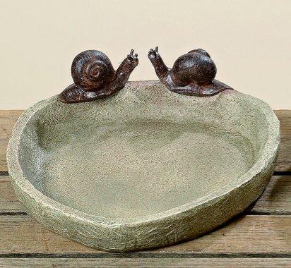Birdbath Ø 21cm Les escargots de résine synthétique brune (escargots)