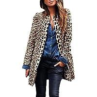 Yvelands Mujer Leopardo Sexy Invierno Cálido Viento Abrigo Cardigan Estampado de Leopardo Largo Abrigo Caliente