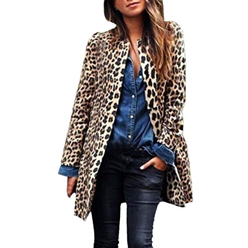 Rosennie Herbst Winter Jacke Classics Unregelmäßigen Damen Sweatjacke Ladies Leopard Sweat Parka Trench Coat Warm Windmantel Wolljacke Frauen Lange Druck Mantel Cardigan Jacke (Braun,S)