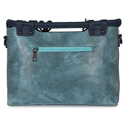 Butterflies Women Handbag (Blue) (BNS 8015BL)