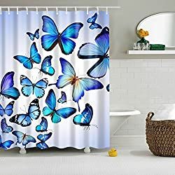Magideal Bathroom Shower Curtain Sheer Waterproof Panel w/ Hooks Blue Butterflies
