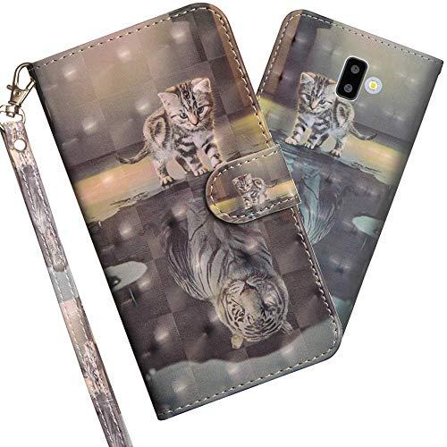 COTDINFOR Samsung Galaxy J6 Plus Hülle 3D-Effekt Painted cool Schutzhülle PU Leder Flip Bookcase Handy Tasche Schale mit Magnet Standfunktion Etui für Samsung Galaxy J6 Plus 2018 Cat Tiger YX.