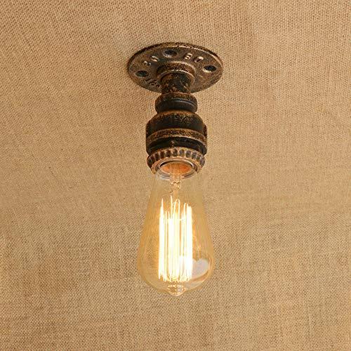 Vier Helle Foyer Lampe (Deckenleuchte Retro Industrial Vintage Antik 1 Flammig Leuchte E27 Lampe Loft Studie Gang Wasser Rohr Eisen Deckenlampe Innen Deckenbeleuchtung Decke Deko Wohnzimmer Flur Beleuchtung (Braune Bronze))