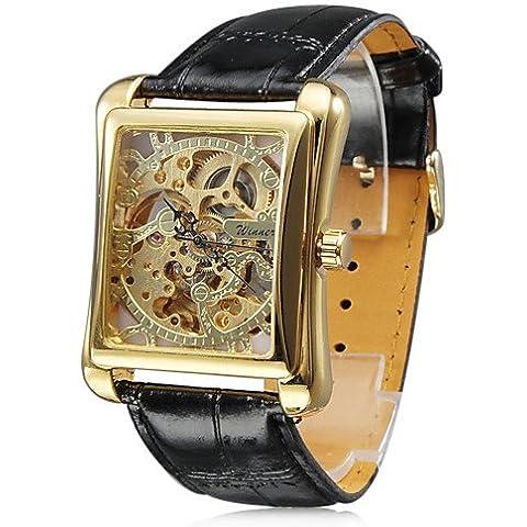 Na& orologio automatico meccanico quadrante in oro piazza incisione cava uomini