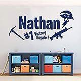 WSJIABIN Wandtattoo Kinderzimmer Personalisierte Name Spitzhacke Dance Aufkleber Vinyl Gun Victory 56x26 cm