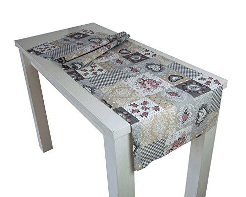 beties Dorfkinder Tischläufer ca. 40x130 cm in großer Sortiments- und Größenauswahl - Shabby Chic für den perfekten Landhaus Style Farbe (Silber-Mauve)