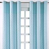 Homescapes Kindervorhang Junge Kinderzimmer Ösenvorhang Dekoschal Stars 2er Set blau 137 x 228cm (Breite x Länge je Vorhang) 100% reine Baumwolle