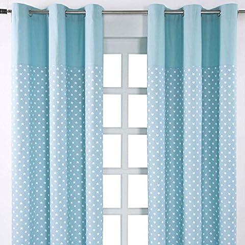 Homescapes Kindervorhang Junge Kinderzimmer Ösenvorhang Dekoschal Stars 2er Set blau 137 x 228cm (Breite x Länge je Vorhang) 100% reine