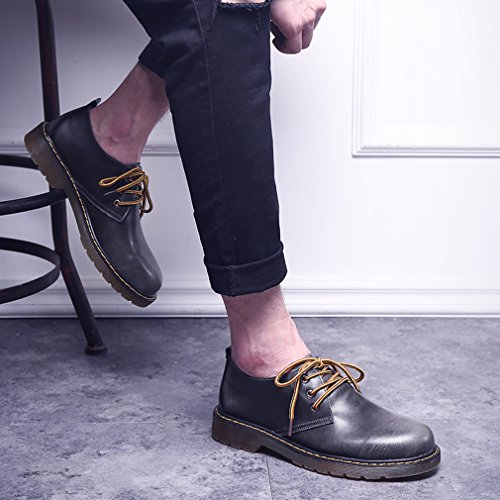 EOZY Richelieu à Lacet Homme En Cuir Pu Chaussure De Ville Oxford Derby Style Anglais Casual Gris