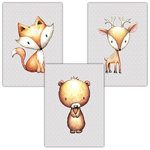 Frechdax® 3er Set Kinderzimmer Babyzimmer Poster Bilder DIN A4 | Mädchen Junge Deko | Dekoration Kinderzimmer | Waldtiere REH Fuchs Hase (3er Set Sterne,Fuchs,Bär,REH)