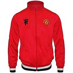 Manchester United FC - Chaqueta de entrenamiento oficial - Para hombre - Estilo retro - Rojo - Medium