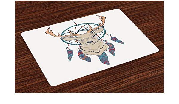 ABAKUHAUS Cerf Set de Table D/écoration de Table en Tissu antid/érapant pour Impression num/érique Cr/ème Sarcelle Beige Ethnique Am/érindien