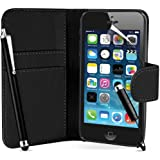 Supergets® Flip Pocket PU Wallet Leather Case Cover For Apple Iphone 5S / 5 S+ Screen Protector , 2 x Touch Screen Stylus and Polishing Cloth
