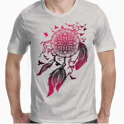 Camiseta - diseño Original - atrapasueños con pájaros - L