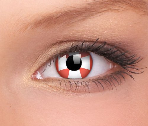 Red Kontaktlinsen Twilight Kostüm - Farbige Kontaktlinsen Rot Weiss, Crazy Lenses Kostüm Karneval Halloween, RED CROSS / KREUZ Funlinsen. inkl. Gratis Behälter
