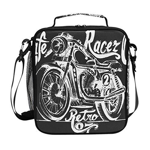JSTEL Lunchtasche Vintage Motorrad Handtasche Lunchbox Lebensmittelbehälter Gourmet Bento Coole Tote Kühltasche Warm Tasche für Reisen Picknick Schule Büro -