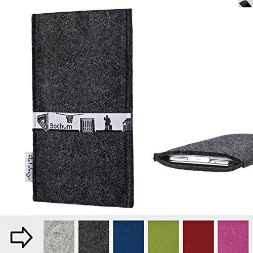 flat.design für Huawei P20 Schutztasche Handy Hülle Skyline mit Webband Bochum - Maßanfertigung der Schutzhülle Handy Tasche aus 100% Wollfilz (anthrazit) für Huawei P20
