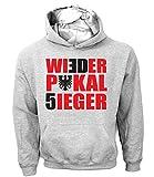 Artdiktat Herren Hoodie | Wieder Pokalsieger | Frankfurt | 30 Jahre Feier | Pokal Berlin Fan Größe L, Grau