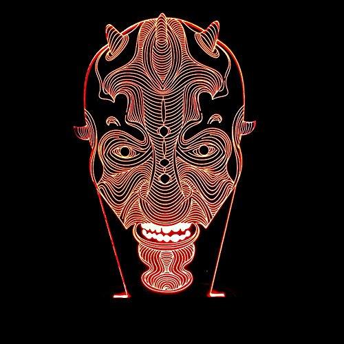 , Halloween Clown avatar sichtbares Licht bunten Touch Farbe Acryl-3D-Lampe LED-Nachtlicht, bestes Geschenk für Freunde Kinder ()
