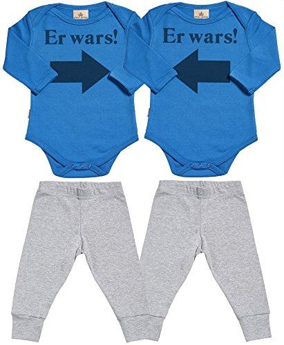 Spoilt Rotten SR - Er Wars! Er Wars! Baby Zwillinge Set - Blau Baby Strampler & Grau Baby Jerseyhose - Baby Zwillinge Body & Baby Zwillinge Hosen Baby Zwillinge Outfit - 12-18 Monate