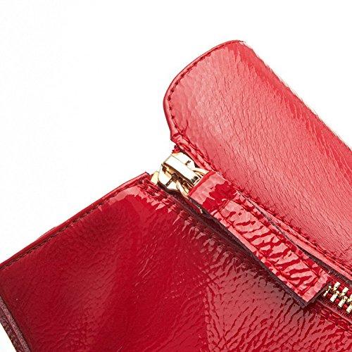 VogueZone009 Damen Weiches Material Rund Zehe Rein Niedriger Absatz Stiefel mit Metallisch Rot