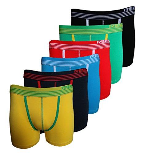 Reedic Herren Boxershorts, Baumwolle, 6er Pack je 1x gelb, blau, türkis, rot, grün, schwarz