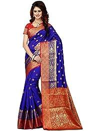 Greenvilla Designs Blue And Red Banarasi Silk Wedding Saree