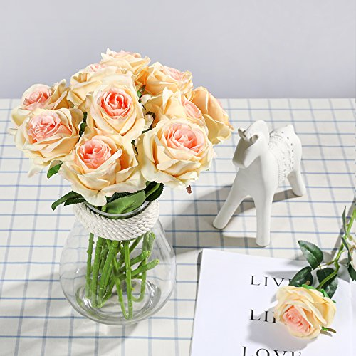 Veryhome 10 Stücke Künstliche Rosen Silk Blumen Gefälschte Flowers Braut Hochzeit Bouquet Für Hausgarten Geburtstag Party Home Wedding Dekor (Champagner-1)