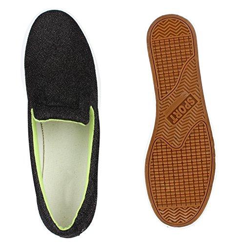 Damen Glitzer Slipons Plateau Metallic Slipper Mode Schuhe Gr 3641 Aktuelle  Kollektion Schwarz Glitzer 2aea597e24