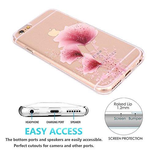 iPhone 6 Hülle, iPhone 6S Hülle, JIAXIUFEN TPU Silikon Schutz Handy Hülle Transparent HandyHülle Schutzhülle Case Cover Huelle Handyhuelle für Apple iPhone 6 6S - White Flower Mandala Three Pink Petal Pollen